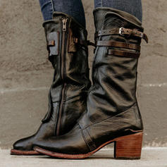 Frauen PU Stämmiger Absatz Stiefel-Wadenlang mit Schnalle Reißverschluss Schuhe
