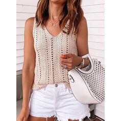 Solid V-Neck Casual Vest/Sleeveless