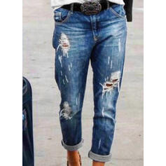 Shirred Plus Size Ripped Long Casual Tribal Denim & Jeans