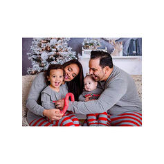 Color-block Letter Striped Family Matching Christmas Pajamas