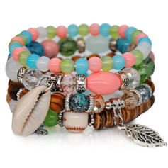 Unique Fashionable Exotic Alloy Crystal With Shell Women's Bracelets (Sold in a single piece)