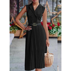 Solid Sleeveless A-line Knee Length Little Black/Casual/Vacation Dresses
