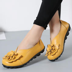 Kvinder Ægte Læder Flad Hæl Fladsko Lukket Tå med Blomst sko