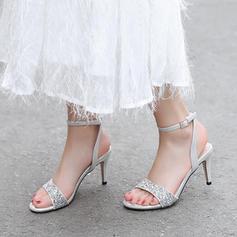 De mujer Brillo Chispeante Cuero de Microfibra Tacón stilettos Sandalias Salón Encaje con Lentejuelas Brillo Chispeante Hebilla zapatos