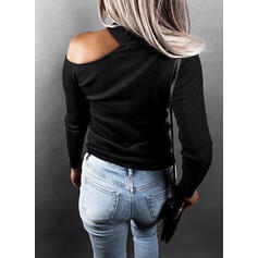 Solid Sequins One-Shoulder Long Sleeves Casual Knit Blouses