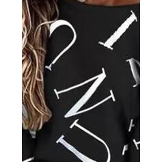 Nadruk Wytłaczany Okrągły dekolt Długie rękawy T-shirty