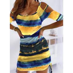 Tie Dye Manches 1/2/Épaule Froide Moulante Au-dessus Du Genou Décontractée/Vacances Robes