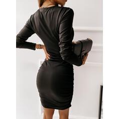 Einfarbig Lange Ärmel Figurbetont Über dem Knie Kleine Schwarze/Elegant Kleider