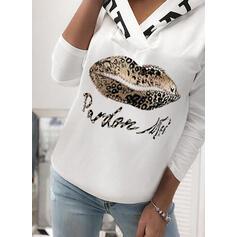 Print Leopard Lange ærmer Hoodie
