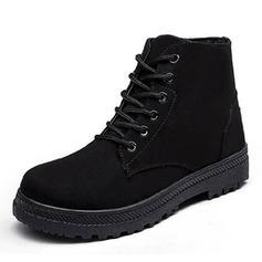 De mujer PU Tacón plano Cerrados Botas con Cordones zapatos
