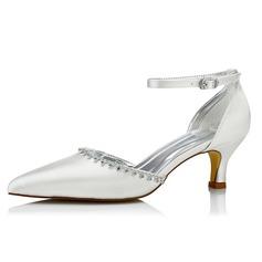 Femmes Satiné Talon bas Escarpins Chaussures qu'on peut teindre avec Strass