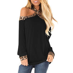 Animal Print Cold Shoulder Long Sleeves Casual Sexy Knit Blouses