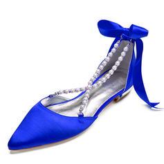 Femmes Satiné Talon plat Bout fermé Chaussures plates Sandales avec Pearl