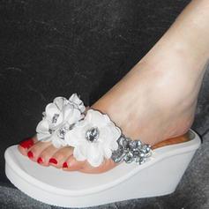 Femmes Son de maïs Talon compensé Compensée Chaussons avec Strass Une fleur chaussures