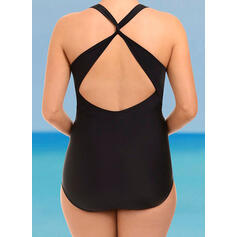 Solid Color U-Neck Sexy Plus Size One-piece Swimsuits