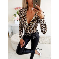 Animal Print V-neck Long Sleeves Button Up Casual Sexy Blouses