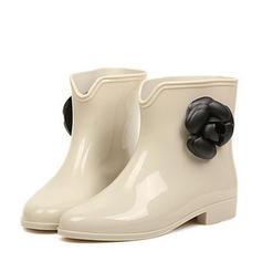 Női PVC Alacsony sarok Csizma Mid-Calf Csizma Gumicsizma -Val Virág cipő