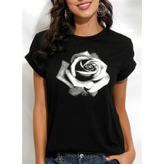 Estampado Floral Gola Redonda Manga Curta Casual Camisetas