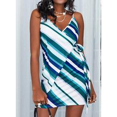 Print/Striped Sleeveless Sheath Above Knee Casual Wrap/Slip Dresses