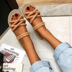 Femmes Tissu Talon plat Sandales À bout ouvert Chaussons avec Autres chaussures
