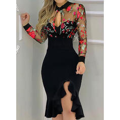 Embroidery/Floral Long Sleeves Sheath Knee Length Elegant Dresses