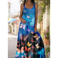 Animal Print Sleeveless Shift Casual Maxi Dresses