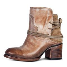 Donna PU Tacco spesso Stiletto Punta chiusa Stivali Stivali alla caviglia con Fibbia scarpe