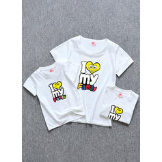 Letter Dessin Animé Tenue Familiale Assortie T-shirts