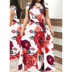 Print/Floral Short Sleeves A-line Skater Casual/Elegant Maxi Dresses