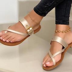 Femmes PU Talon plat Sandales Chaussures plates Tongs Chaussons avec Ouvertes Entrecroisement chaussures