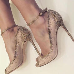 Women's Mesh Stiletto Heel Peep Toe Pumps With Rhinestone
