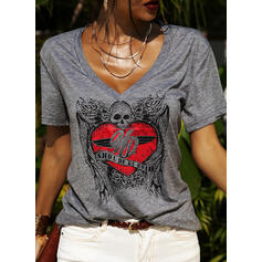Print Figure Heart V-Neck Short Sleeves Casual T-shirts