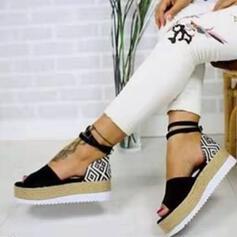 Női PU Lapos sarok Szandál Peep Toe -Val Csat cipő