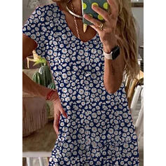 Print/Floral Short Sleeves Shift Casual/Vacation Maxi Dresses