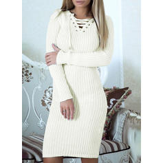 Solid Long Sleeves Bodycon Knee Length Sweater/Casual Dresses