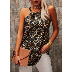 Leopard Round Neck Sleeveless Tank Tops