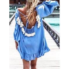 Jednobarevná Kulatý krk Vysoký krk Sexy Čerstvý Boho Přehozy Plavky