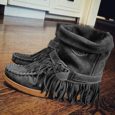 Women's Suede Flat Heel Boots Mid-Calf Boots With Tassel shoes