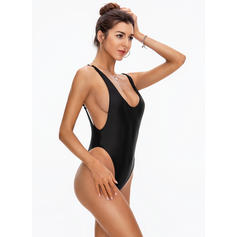 Solid Color Thong High Cut Strap Sexy One-piece Swimsuits