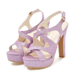 Women's Sparkling Glitter Chunky Heel Sandals Pumps Platform Peep Toe Slingbacks With Buckle shoes