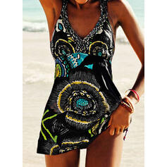 Floral Print Strap V-Neck Vintage Plus Size Boho Swimdresses Swimsuits