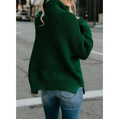 Plain Ribbed Chunky knit Turtleneck Sweaters
