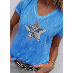 Print V-Neck Short Sleeves Casual Knit T-shirt