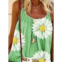 Estampado Floral Alças finas Sem Mangas Casual Camisetas regata