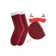 Couleur unie/Crochet Chaud/Noël/Chaussettes Crew/Antidérapant/Unisexe Chaussettes