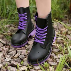 Frauen PVC Niederiger Absatz Stiefel Stiefel-Wadenlang Regenstiefel mit Zuschnüren Schuhe