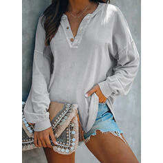 Solid V-hals Lange ærmer Sweatshirts