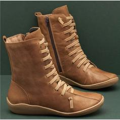 Women's PU Low Heel Boots With Zipper Lace-up shoes