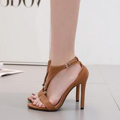Naisten PU Piikkikorko Sandaalit Avokkaat Peep toe jossa Solki kengät