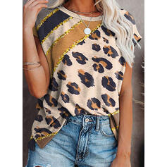 Värikäs leopardi Paljetit pyöreä kaula-aukko Lyhyet hihat T-paidat